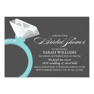 Ducha nupcial azul del anillo de diamante invitación 12,7 x 17,8 cm