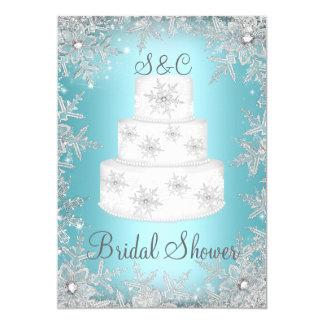 """Ducha nupcial azul del pastel de bodas del invitación 5"""" x 7"""""""
