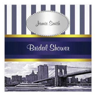 Ducha nupcial blanca azul del puente de Brooklyn d Comunicado