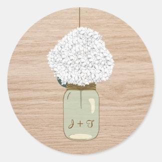 Ducha nupcial blanca del tarro del Hydrangea y de Pegatina Redonda