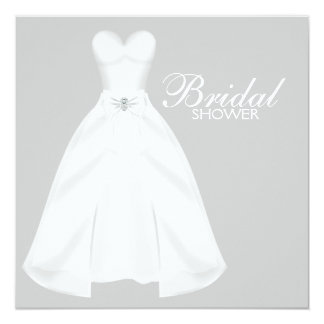 """Ducha nupcial blanca del vestido de boda invitación 5.25"""" x 5.25"""""""