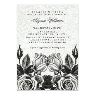 """Ducha nupcial blanco y negro de los rosas invitación 5"""" x 7"""""""