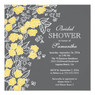 Ducha nupcial bonita de las flores gris moderno y comunicado personal
