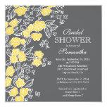 Ducha nupcial bonita de las flores gris moderno y invitación 13,3 cm x 13,3cm
