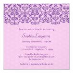 Ducha nupcial BR011F del cordón púrpura y rosado Invitación Personalizada