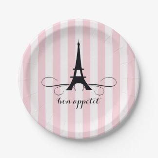 Ducha nupcial caprichosa de la torre Eiffel el | Plato De Papel De 7 Pulgadas