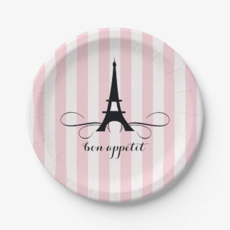 Ducha nupcial caprichosa de la torre Eiffel el | Plato De Papel 17,78 Cm