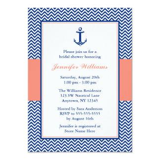 """Ducha nupcial coralina azul del ancla náutica de invitación 4.5"""" x 6.25"""""""