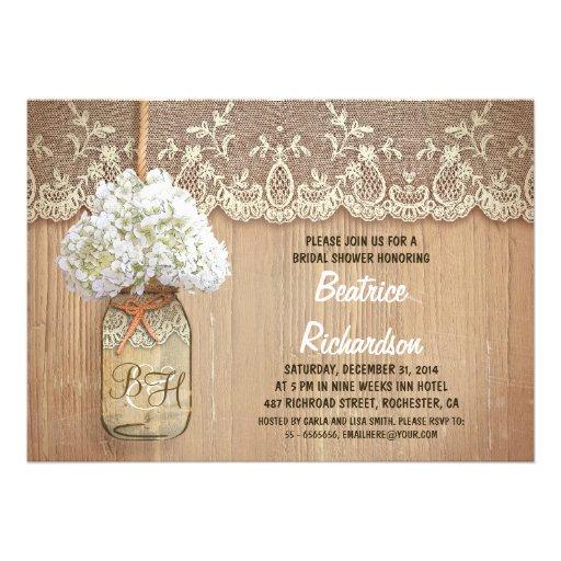ducha nupcial de albañil del hydrangea blanco rúst invitación