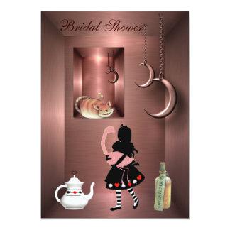 Ducha nupcial de Alicia, del flamenco y del gato Invitación 12,7 X 17,8 Cm
