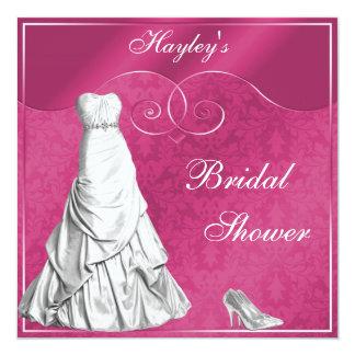 Ducha nupcial de boda del rosa atractivo del invitaciones personalizada