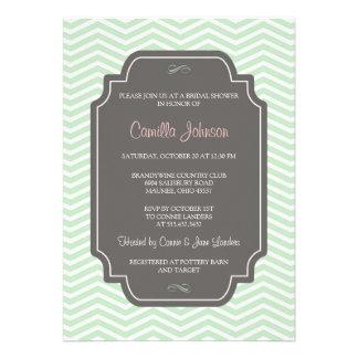 Ducha nupcial de Chevron de la verde menta elegant Invitaciones Personales