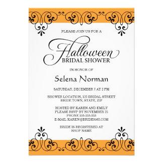Ducha nupcial de Halloween del damasco anaranjado  Comunicado