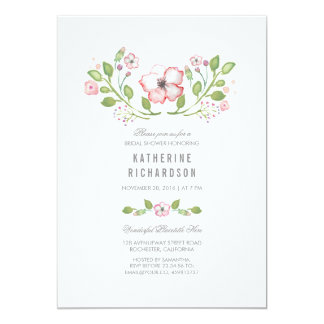"""Ducha nupcial de la acuarela floral rosada invitación 5"""" x 7"""""""