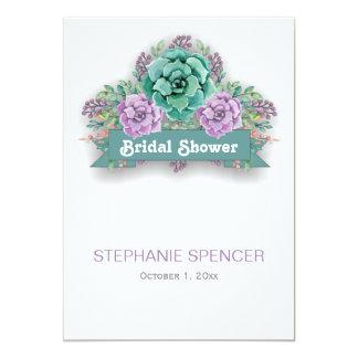 """Ducha nupcial de la acuarela floral suculenta invitación 5"""" x 7"""""""