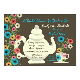 Ducha nupcial de la fiesta del té del jardín invitación 12,7 x 17,8 cm