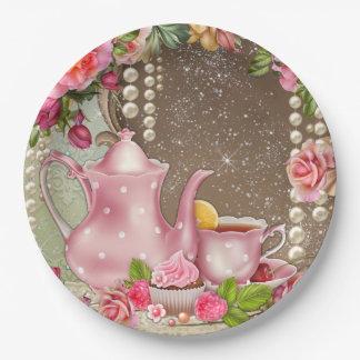 Ducha nupcial de la fiesta del té nupcial plato de papel de 9 pulgadas