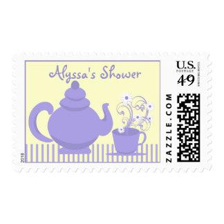 Ducha nupcial de la fiesta del té púrpura y estampilla