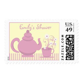 Ducha nupcial de la fiesta del té timbre postal
