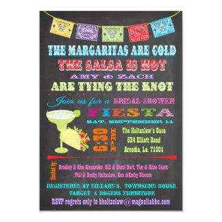 Ducha nupcial de la fiesta mexicana de la pizarra invitación 12,7 x 17,8 cm