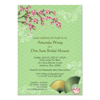 Ducha nupcial de la flor de cerezo y del jade de invitaciones personalizada