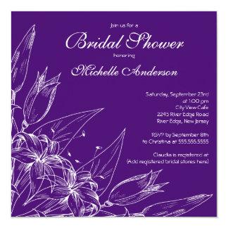 Ducha nupcial de la flor púrpura elegante del invitación 13,3 cm x 13,3cm