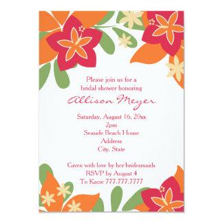 """Ducha nupcial de la flor tropical anaranjada invitación 4.5"""" x 6.25"""""""