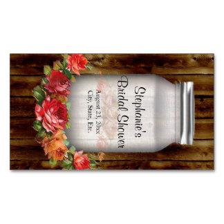 Ducha nupcial de la guirnalda de la flor del tarro tarjetas de visita magnéticas (paquete de 25)