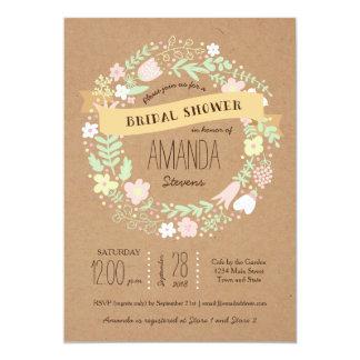 Ducha nupcial de la guirnalda del papel floral invitación 12,7 x 17,8 cm