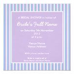 Ducha nupcial de la lila de la lila blanca azul de invitación 13,3 cm x 13,3cm
