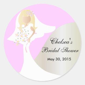 Ducha nupcial de la novia hermosa pegatina redonda