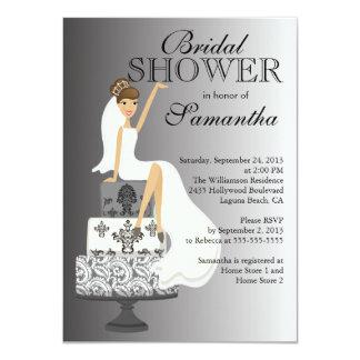 Ducha nupcial de la novia triguena gris moderna invitación 11,4 x 15,8 cm