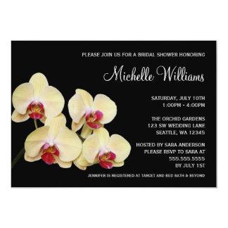 """Ducha nupcial de la orquídea amarilla y rosada invitación 5"""" x 7"""""""