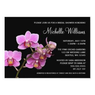 Ducha nupcial de la orquídea rosada y negra comunicado personalizado