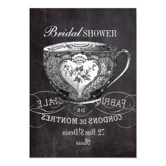 """ducha nupcial de la pizarra de la taza de té del invitación 5"""" x 7"""""""