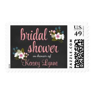 Ducha nupcial de la pizarra floral timbre postal
