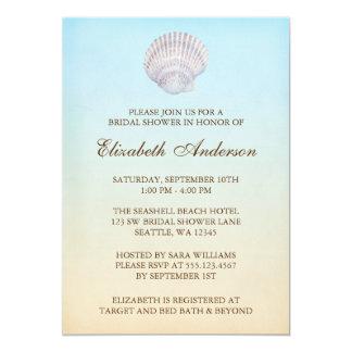 """Ducha nupcial de la playa tropical del Seashell Invitación 5"""" X 7"""""""