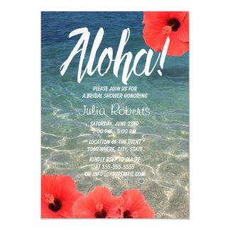 """Ducha nupcial de la playa tropical hawaiana del invitación 5"""" x 7"""""""