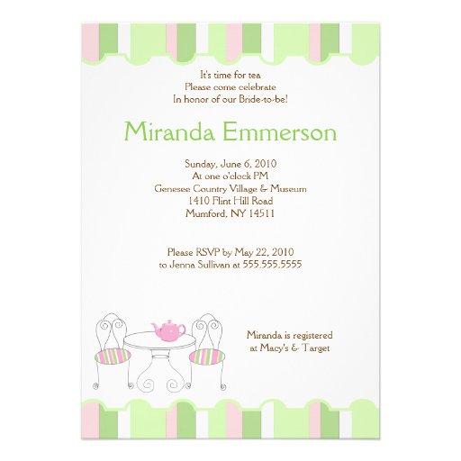 Ducha nupcial de la raya de la tetera verde de la  invitacion personalizada