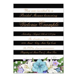 Ducha nupcial de la raya negra invitación 11,4 x 15,8 cm