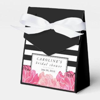 Ducha nupcial de la raya negra y del Peony rosado Caja Para Regalos De Fiestas