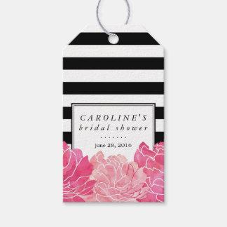 Ducha nupcial de la raya negra y del Peony rosado Etiquetas Para Regalos