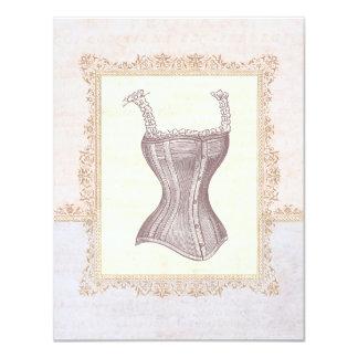 Ducha nupcial de la ropa interior del corsé del invitación 10,8 x 13,9 cm