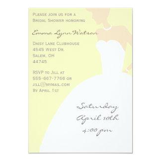 Ducha nupcial de la silueta amarilla de la novia invitación 12,7 x 17,8 cm
