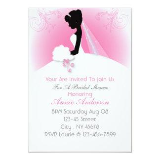 """ducha nupcial de la silueta elegante rosada invitación 5"""" x 7"""""""