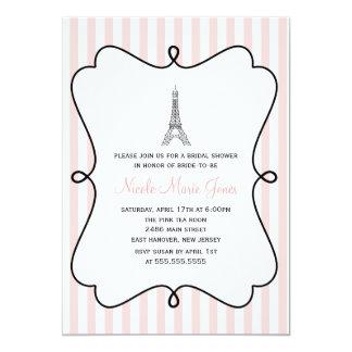 """Ducha nupcial de la torre Eiffel rosada Invitación 5"""" X 7"""""""