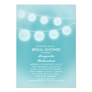 """ducha nupcial de las linternas románticas azules invitación 5"""" x 7"""""""