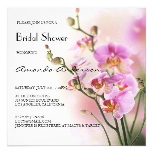 Ducha nupcial de las orquídeas rosadas románticas invitacion personal