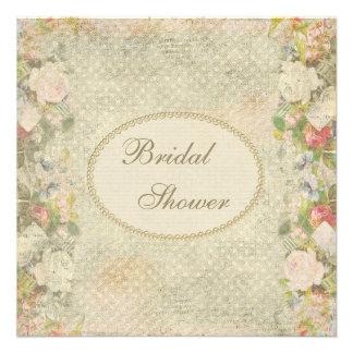Ducha nupcial de las perlas y de las flores elegan invitacion personalizada