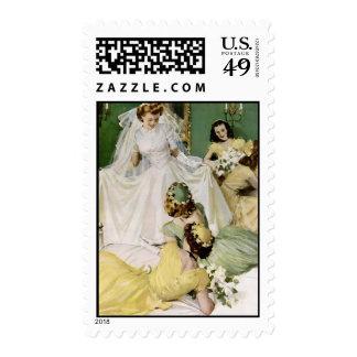 Ducha nupcial de los años 40 retros sello